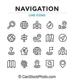 simples, linha, gráfico, elementos, conceitos, modernos, esboço, ícones, desenho, collection., vetorial, set., símbolos, navegação