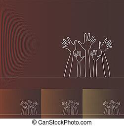 simples, linha, ilustração, hands.