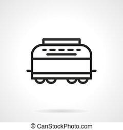 simples, linha, vetorial, refrigerator-car, ícone