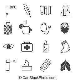 simples, médico, jogo, ícones