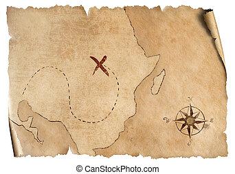 simples, mapa, tesouro, isolado