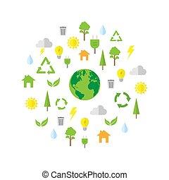 simples, meio ambiente, ícone