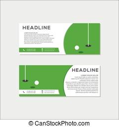 simples, modernos, golfe, bandeira, ou, site web, header.