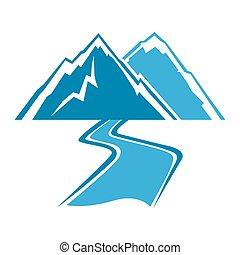simples, montanhas, linha, rio, arte