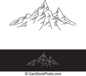 simples, montanhas, rocha, ilustração, apartamento
