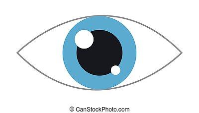 simples, olho azul, ícone