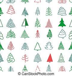 simples, padrão, seamless, natal, árvores.