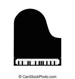 simples, piano, pretas, ícone