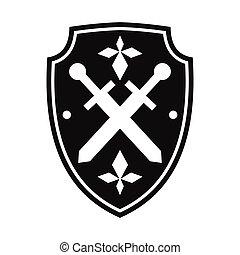 simples, pretas, escudo, ícone