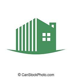 simples, residência, swoosh, verde, logotipo