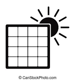 simples, sol, ícone, painel solar