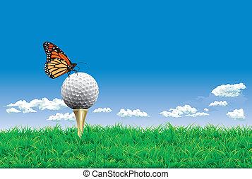 simples, tee, bola, golfe, fundo