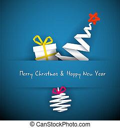 simples, vetorial, azul, cartão natal, com, presente, árvore, e, bauble