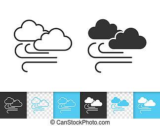 simples, vetorial, pretas, linha, nuvem, ícone