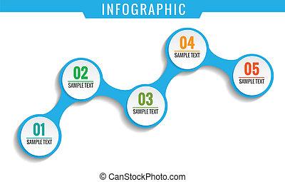 simplesmente, infographic, cinco, passos