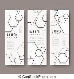 simplicité, hexagone, élément, bannières, ensemble