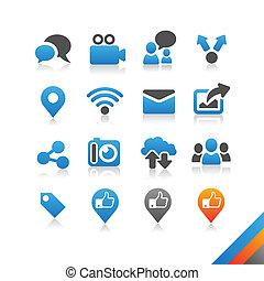 simplicité, icônes, série, social, -, vecteur, média