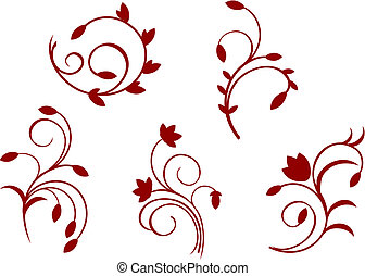 Simplicity floral decorations isolated on the white