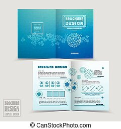 simplicity half-fold brochure template design with geometric patterns in blue