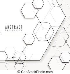 simplicity hexagon element background design in white