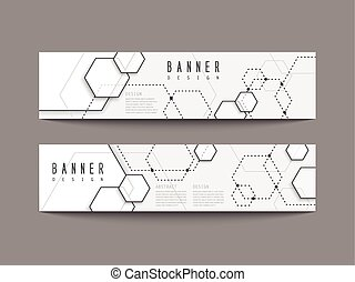 simplicity hexagon element banners set