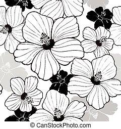 simplicity hibiscus seamless pattern