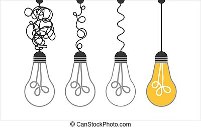 Simplification concept art with light bulb idea. Simple and creative think or search creative idea. Difficulty curve doodle path chaos. Untangle curve complex scribble vector illustration. Problem way