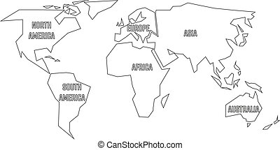 Simplified World Map Divided To Continents Simple Black Vector - Continents outline