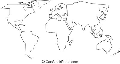 Vector world map yellow contour deep red background vector simplified black outline of world map divided to six continents simple flat vector illustration on gumiabroncs Image collections