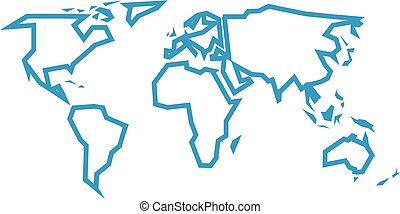 Simlified world map divided to six continents yellow lands simplified blue thick outline of world map divided to six continents simple flat vector illustration gumiabroncs Choice Image