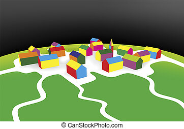 settlement - simplified illustration of a small settlement ...