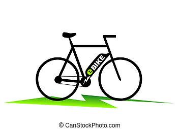 e-bike - simplified illustration of an e-bike with plug