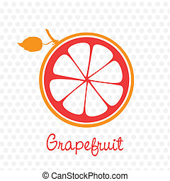 simplified silhouette grapefruit stem and leaf, vector illustration