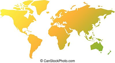 Simplified silhouette of World map in yellow-green gradient. Vector illustration isolated on white background