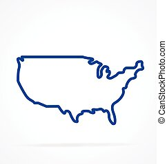 simplified usa america map outline vector