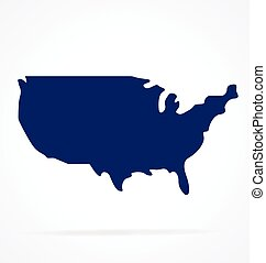 simplified usa america map shape vector