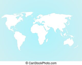 simplified white world map silhouette on turquoise blue background vector illustration
