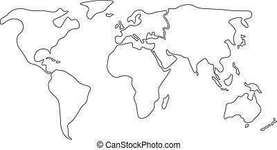 Simplified black outline of world map divided to six vector simplified world map divided to continents simple black outline gumiabroncs Gallery