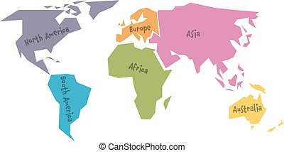 simplified world map divided to six continents in different colors simple flat vector illustration