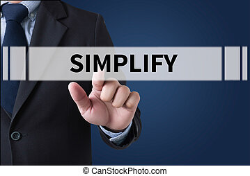 SIMPLIFY Businessman hands touching on virtual screen and blurred city background