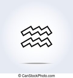 Simplistic aquarius zodiac star sign. Vector illustration