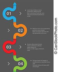 simplistic, infographic, tervezés, 4, opciók