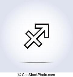 Simplistic sagittarius zodiac star sign. Vector illustration