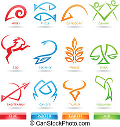 Simplistic zodiac star signs - Vector illustration of...