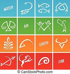 simplistic, zodiac, stertekens