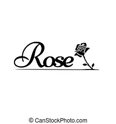 simply beauty word of rose letter vector illustration