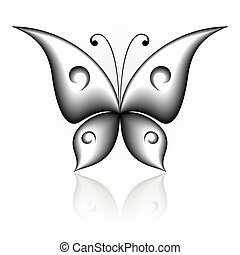 Simply butterfly - Vector illustration of black icon simply ...