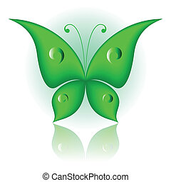 Simply butterfly - Vector illustration of green icon simply ...