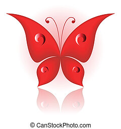 Simply butterfly - Vector illustration of red icon simply ...