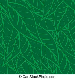 Simply green tea leaves seamless pattern background